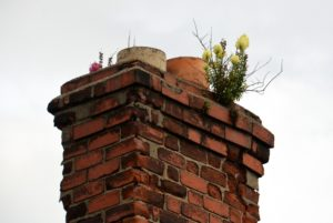 leaning or tilting chimney